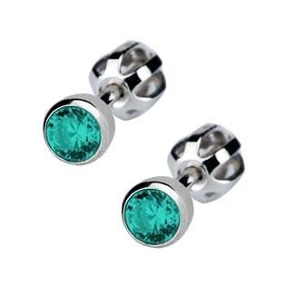 Stříbrné náušnice se zelenomodré kamínky 4 mm
