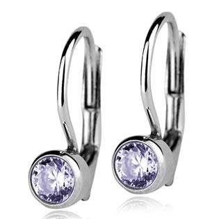 Stříbrné náušnice se světle fialovými kamínky 4 mm