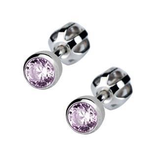 Stříbrné náušnice se světle fialové kamínky 4 mm