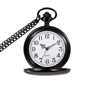 Šperky4U Kapesní hodinky otevírací - cibule černé - KH0016