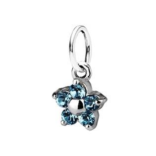 Detský prívesok kytička, Crystals from SWAROVSKI®, farba: Aquamarine