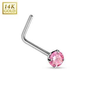 Zlatý piercing do nosu růžový zirkon, Au 585/1000