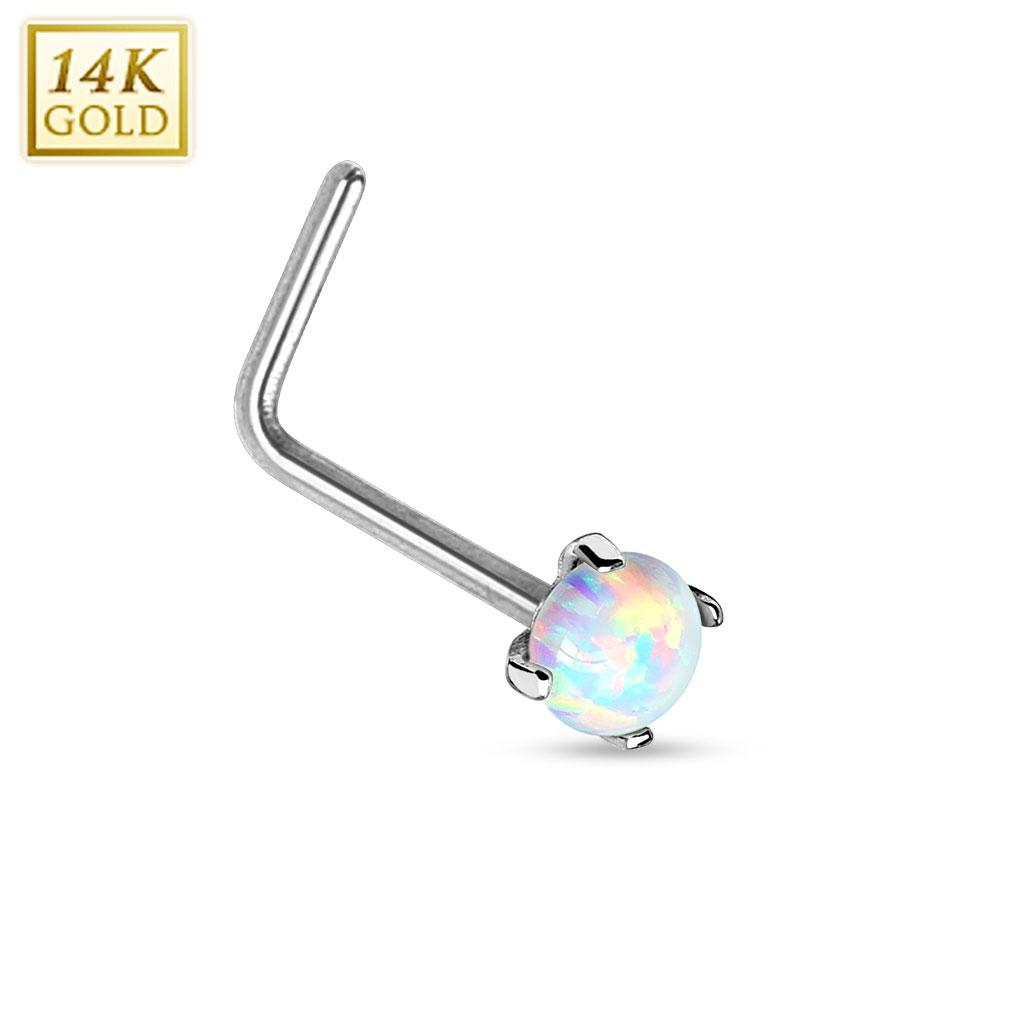 Zlatý piercing do nosu Opál, Au 585/1000 ZL01026-WG