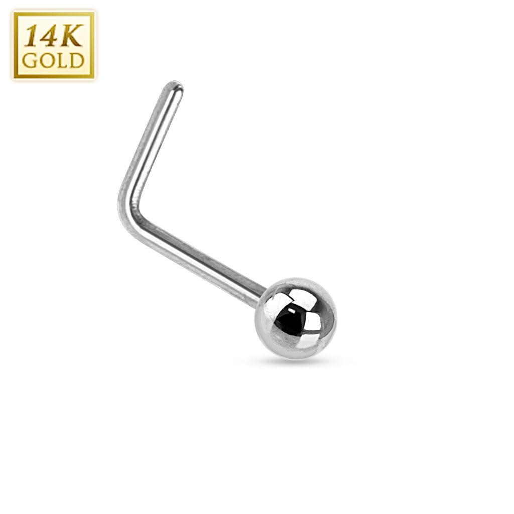 Zlatý piercing do nosu kulička, Au 585/1000 ZL01033-WG