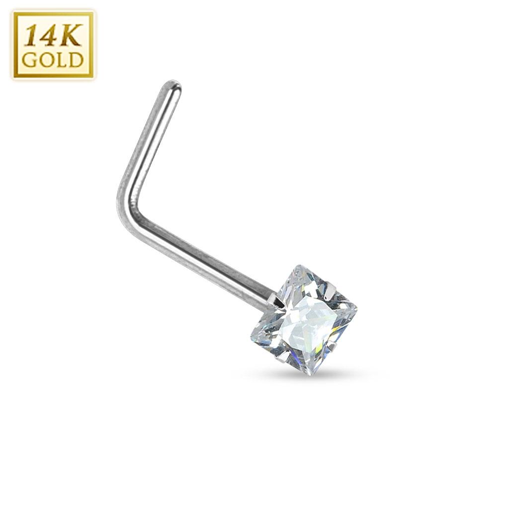 Zlatý piercing do nosu čirý zirkon, Au 585/1000 ZL01030C-WG