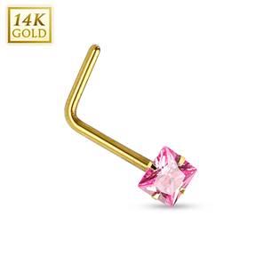 Zlatý piercing do nosu - růžový zirkon, Au 585/1000