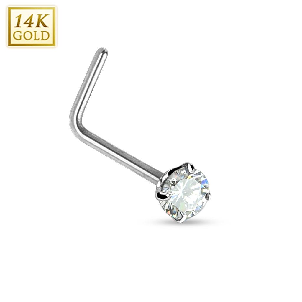 Zlatý piercing do nosu čirý zirkon, Au 585/1000 ZL01027C-WG