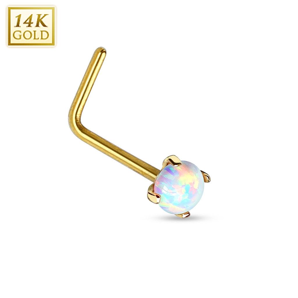 Zlatý piercing do nosu Opál, Au 585/1000 ZL01026-YG