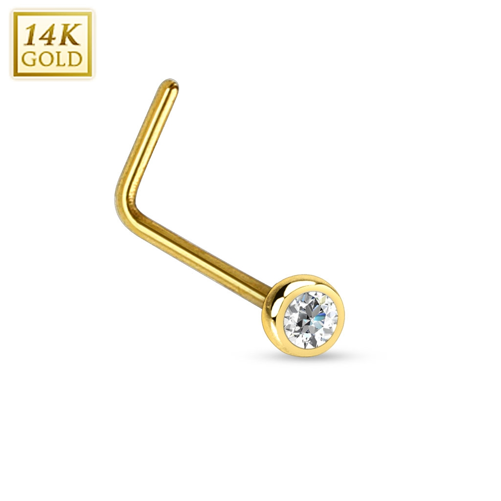 Zlatý piercing do nosu se zirkonem, Au 585/1000 ZL01035-YG