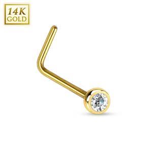 Zlatý piercing do nosu se zirkonem, Au 585/1000