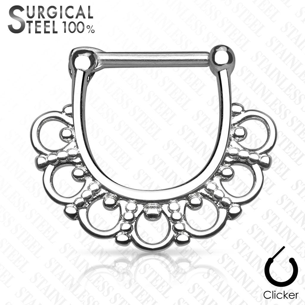Oceľový piercing do nosa - septum