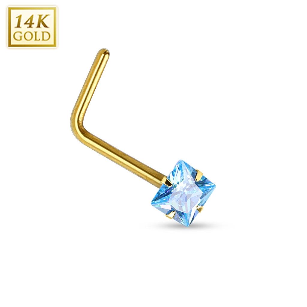 Zlatý piercing do nosu - tyrkysový zirkon, Au 585/1000 ZL01030Q-YG