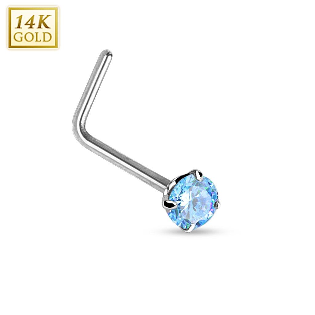 Zlatý piercing do nosu tyrkysový zirkon, Au 585/1000 ZL01027Q-WG