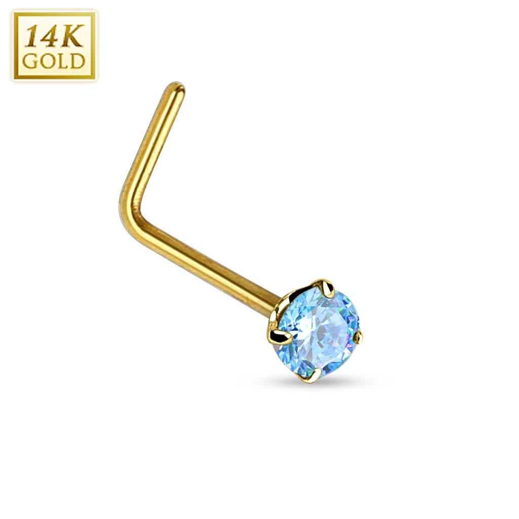 Zlatý piercing do nosu - tyrkysový zirkon, Au 585/1000 ZL01027Q-YG