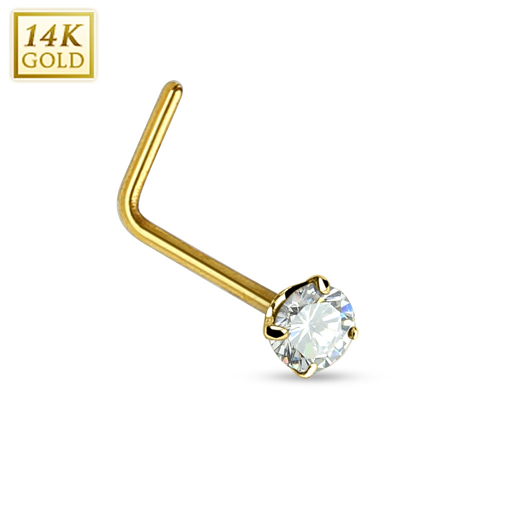Zlatý piercing do nosu - čirý zirkon, Au 585/1000 ZL01027C-YG