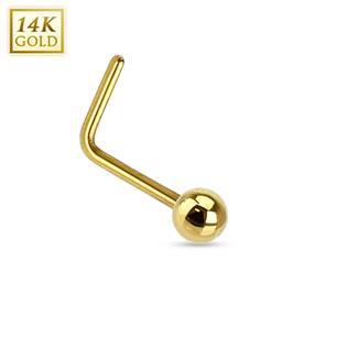 Zlatý piercing do nosu - kulička, Au 585/1000