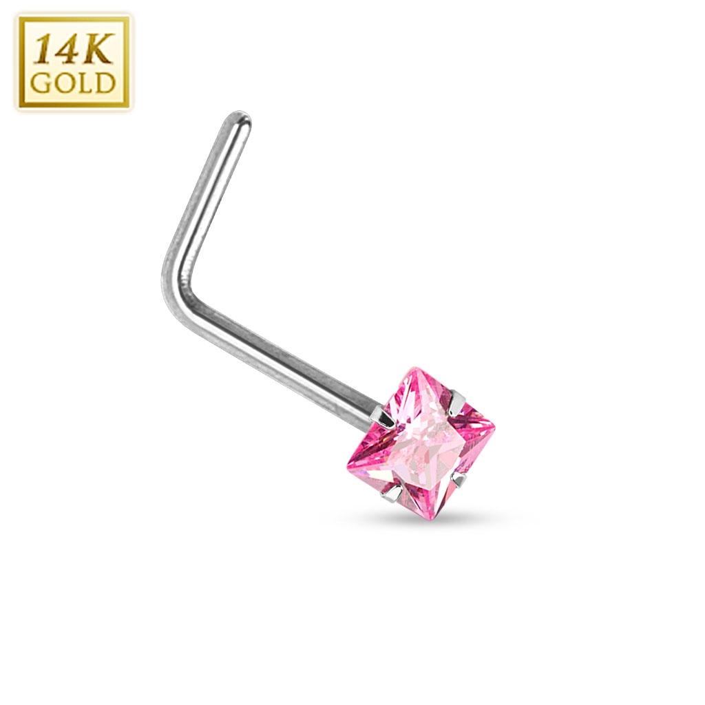 Zlatý piercing do nosu růžový zirkon, Au 585/1000 ZL01030P-WG