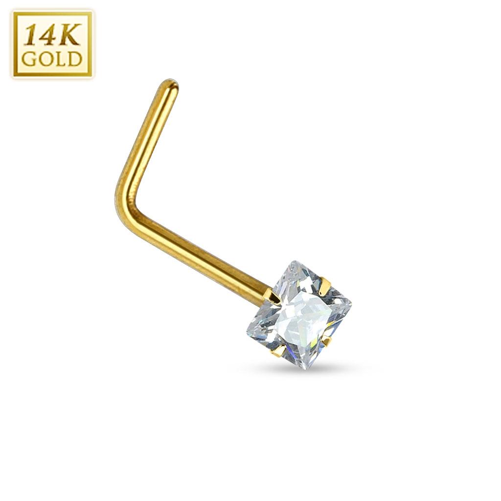 Zlatý piercing do nosu - čirý zirkon, Au 585/1000 ZL01030C-YG