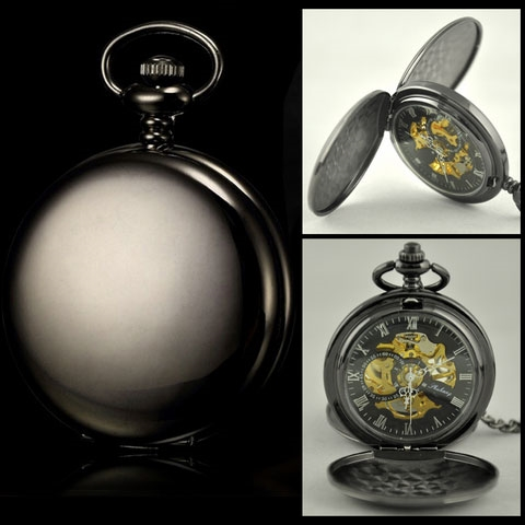 Mechanické vreckové hodinky otváracie čierne - cibule