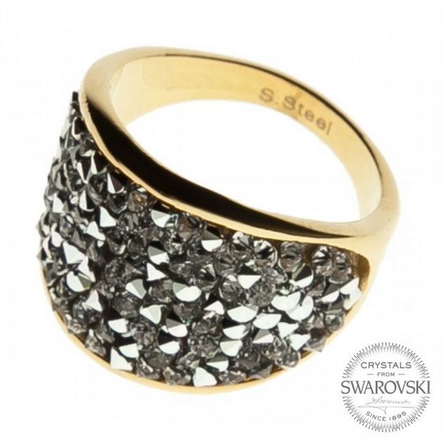 Pozlátený oceľový prsteň s kryštálmi Crystals from Swarovski ®, Crystal