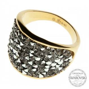 AKTUAL, s.r.o. Zlacený ocelový prsten s krystaly Crystals from Swarovski®, Crystal - velikost 52 - L