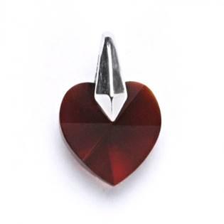 Stříbrný přívěšek srdce SWAROVSKI® el., Siam