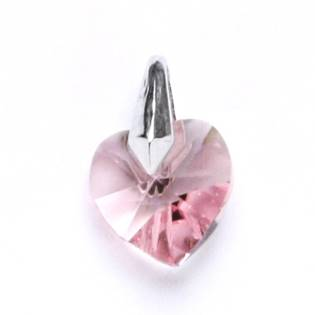 Stříbrný přívěšek srdce Crystals from SWAROVSKI®, Light rose 10x10 mm