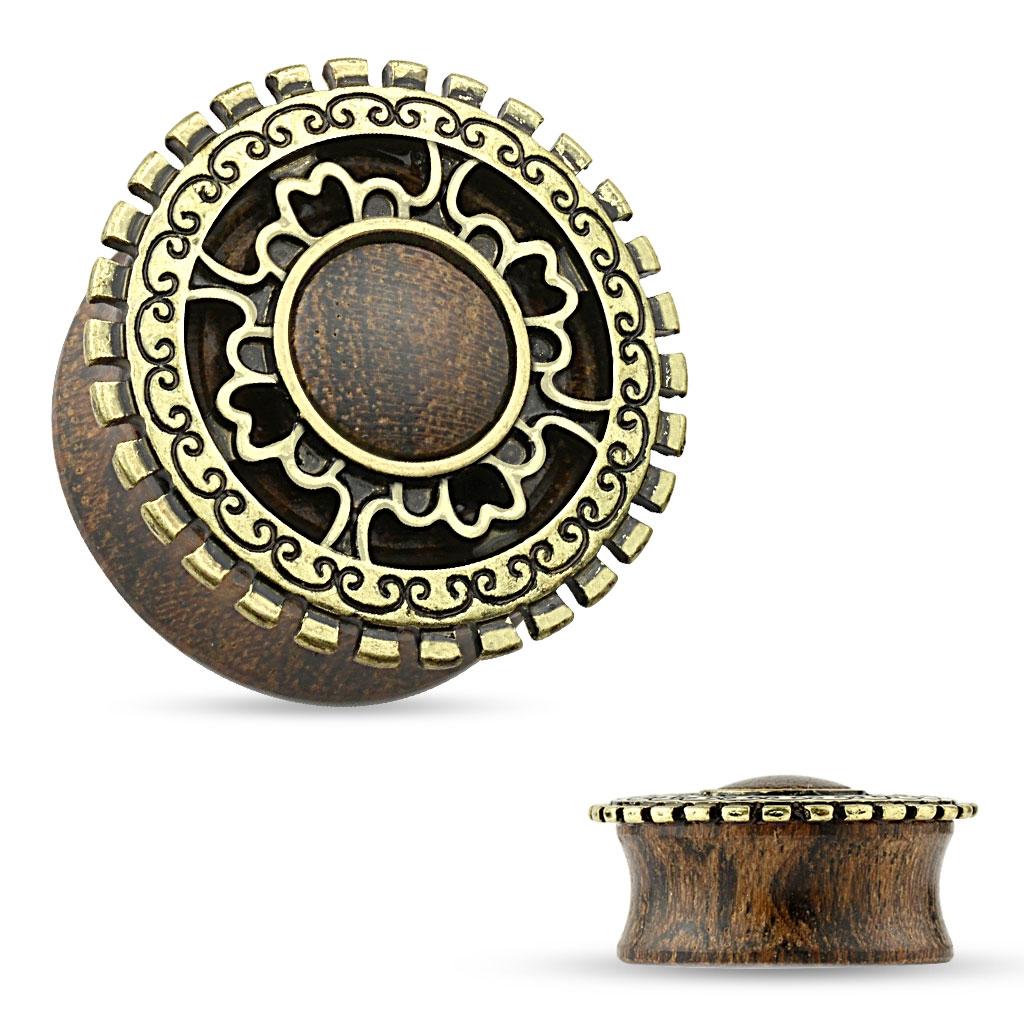 Dřevěný plug do ucha s ornamenty
