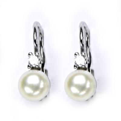 Stříbrné náušnice přírodní perly 5,5 mm CS5107