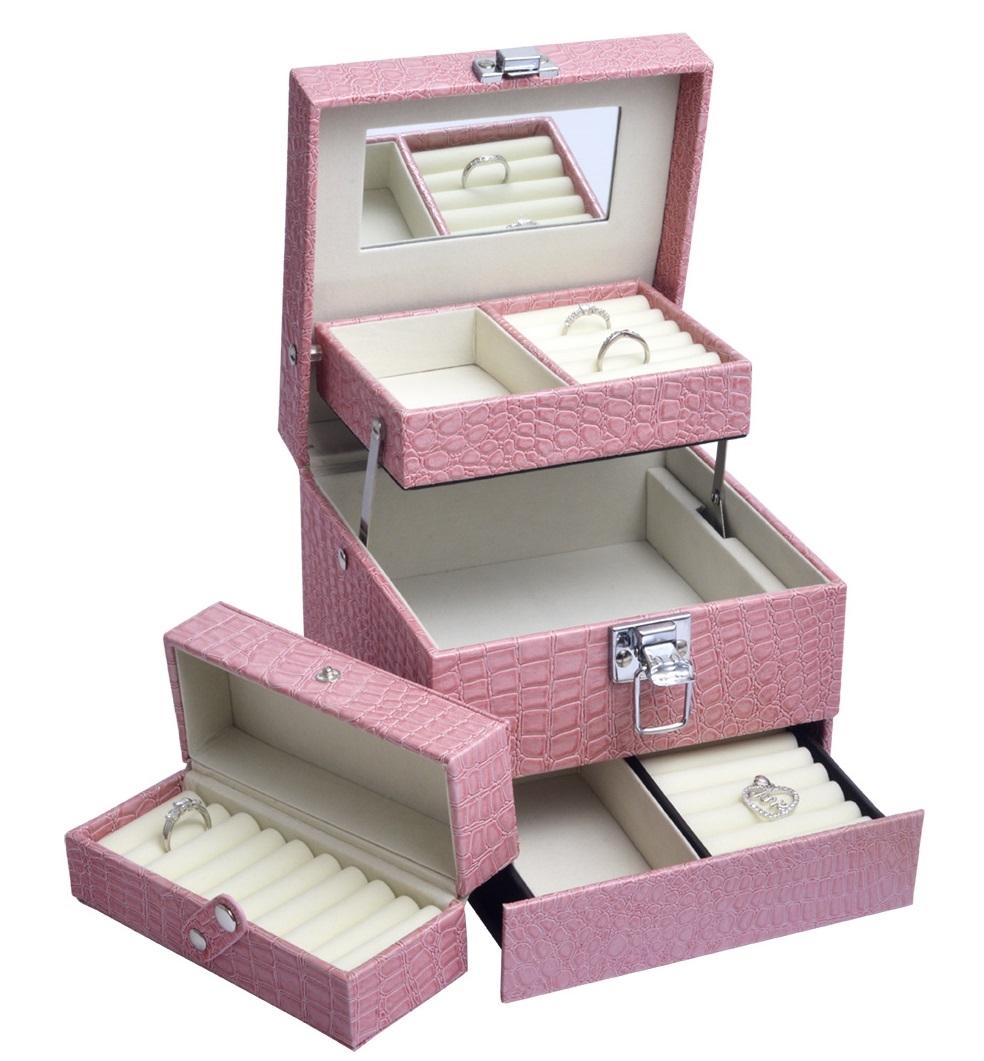 Šperkovnica - ružová koženka