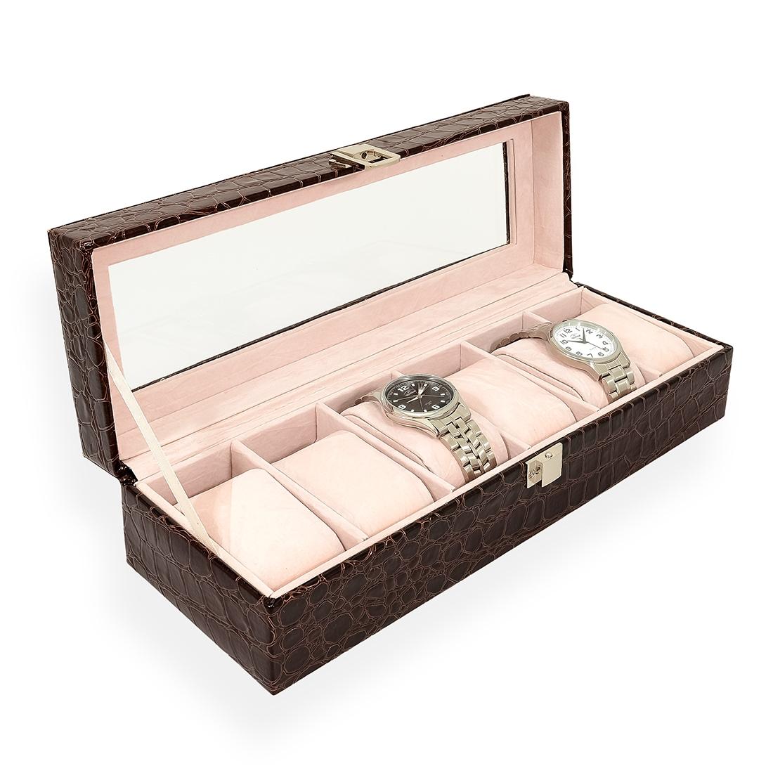 Šperkovnica na ukladanie hodiniek - hnedá koženka