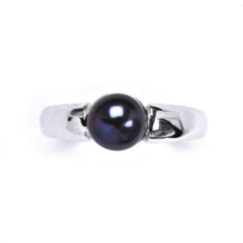 Strieborný prsteň s prírodnou perlou 8 mm, veľ. 57