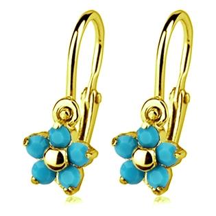 Zlaté detské náušnice s kameňmi Crystals from SWAROVSKI®, farba: Turquoise