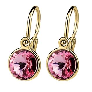Zlaté dětské náušnice s kameny Crystals from SWAROVSKI®, barva: Light rose CSZ5007