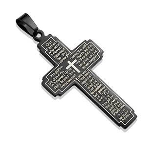 Ocelový přívěšek - kříž s textem