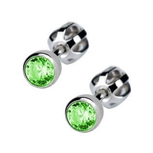 Stříbrné náušnice se světle zelené kamínky 4 mm