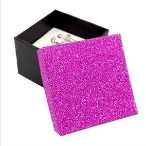 KR0055-PK Dárková krabička na prsten růžová/černá