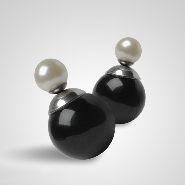 Moderné oceľové náušnice - perličky / guličky čierne