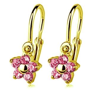 Zlaté detské náušnice s kameňmi Crystals from SWAROVSKI®, farba: Rose