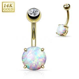 Zlatý piercing do pupíku s opál velký, Au 585/1000