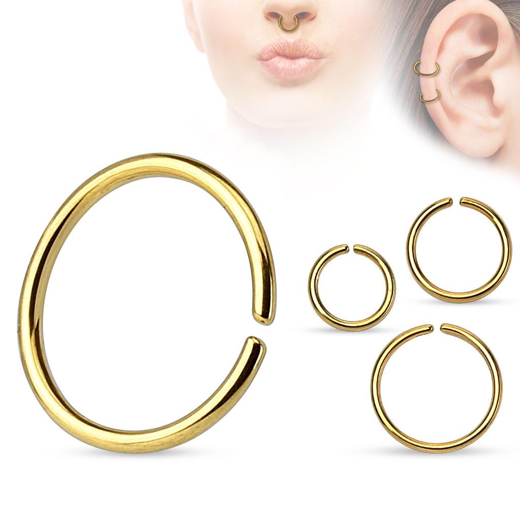 Piercing do nosa - kruh pozlátený