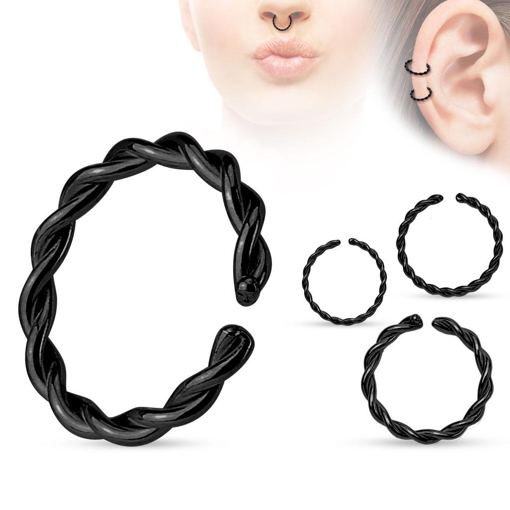 Piercing do nosa - kruh čierny