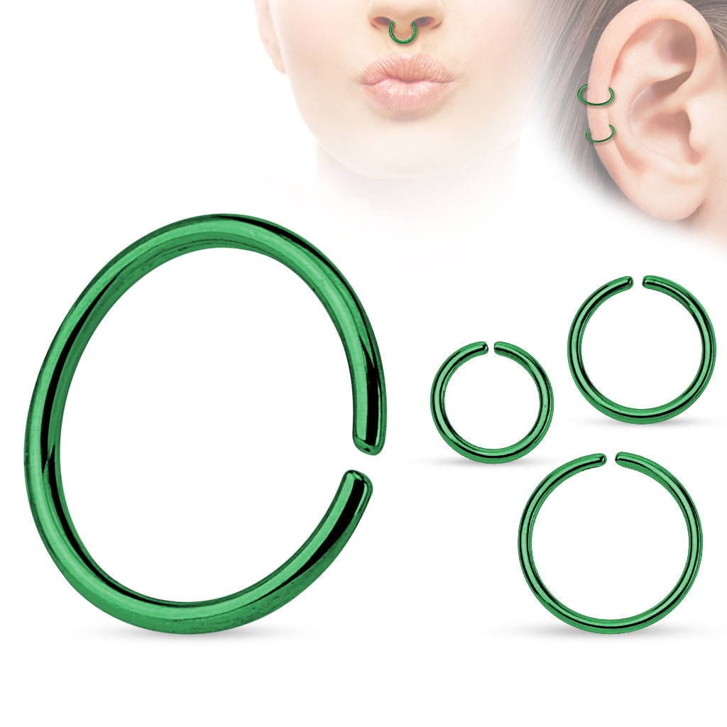 Piercing do nosa - kruh zelený