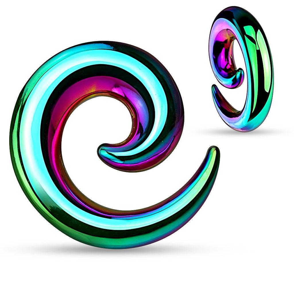 Oceľový expander do ucha - špirála dúhová