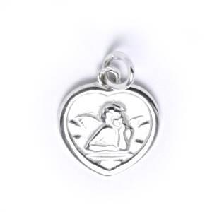 Stříbrný přívěšek - srdce s andělíčkem