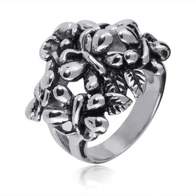 Oceľový prsteň s motýlikmi, veľ. 54