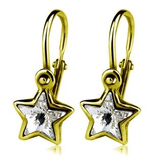 Zlaté dětské náušnice s hvězdičkami Crystals from SWAROVSKI®, barva: Crystal CSZ5061