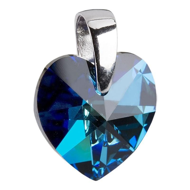 Stříbrný přívěšek srdce z dílny Crystals from Swarovski®, Montana Blue