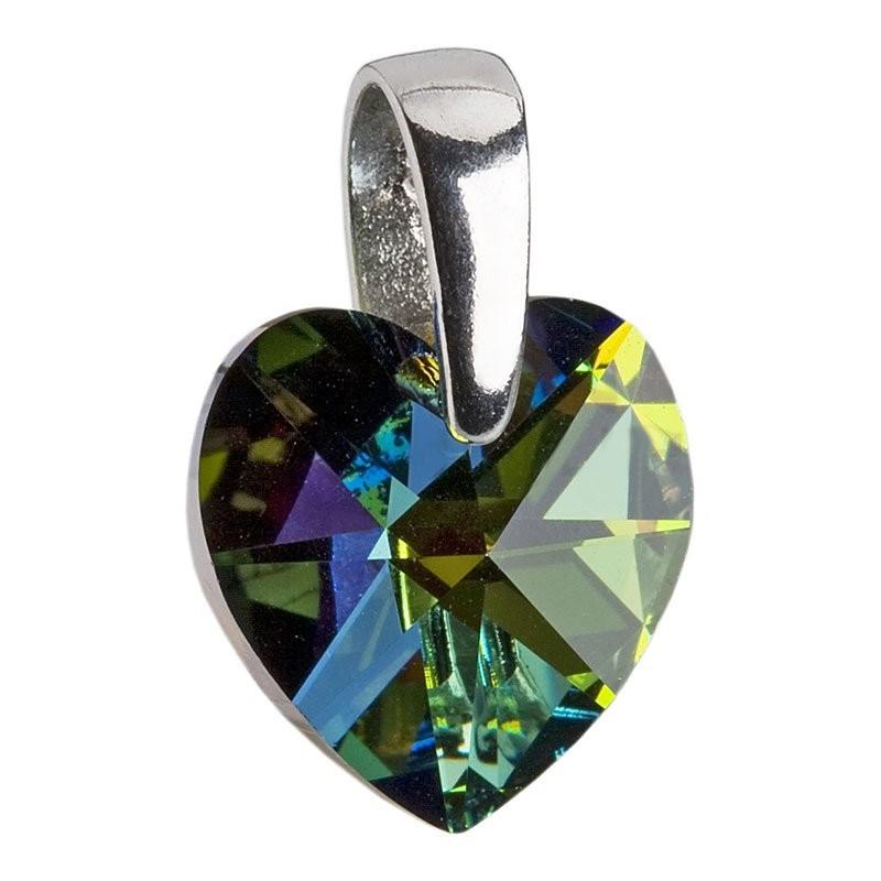 Stříbrný přívěšek srdce z dílny Crystals from Swarovski®, Vitrail Dark