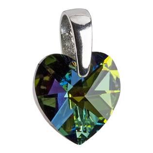 Stříbrný přívěšek srdce z dílny Crystals from Swarovski®, Vitrail Dark 10 mm